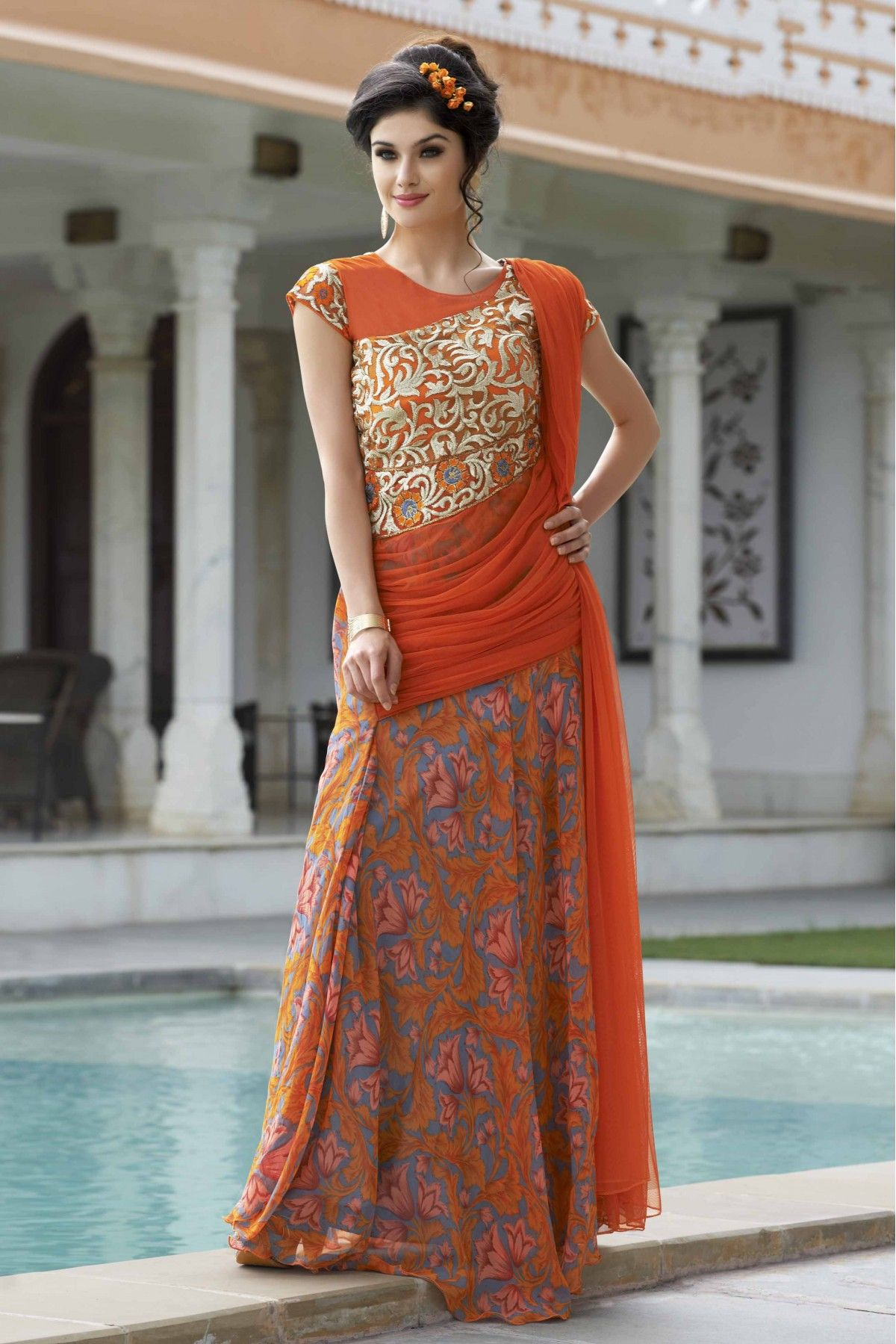 Orange Colour Georgette Fabric Designer Semi Stitched Flower Printed Gown Comes With Matching Dupatta. This Gown Is Crafted With Embroidery,Flower Printed Work. This Gown Comes as Semi Stitched so It ...