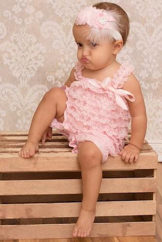 dea0027441b Blush Pink Lace Baby Romper Photo Prop - CPD001B