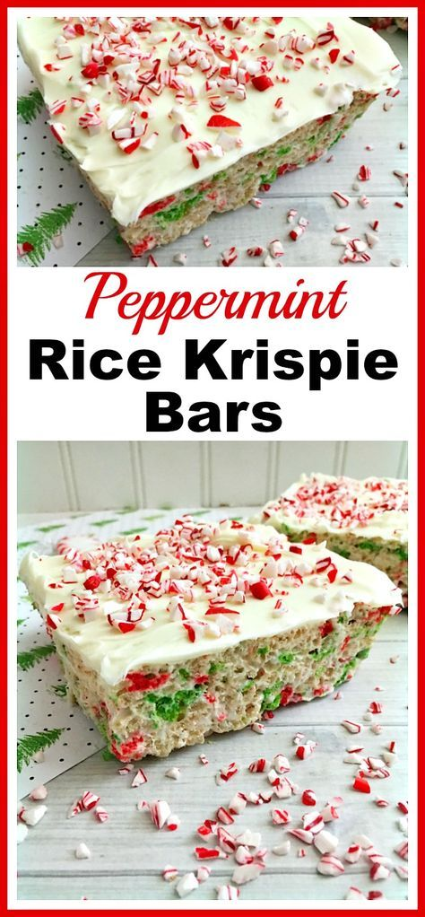 Peppermint Rice Krispie Bars | Recipe | Holiday desserts ...