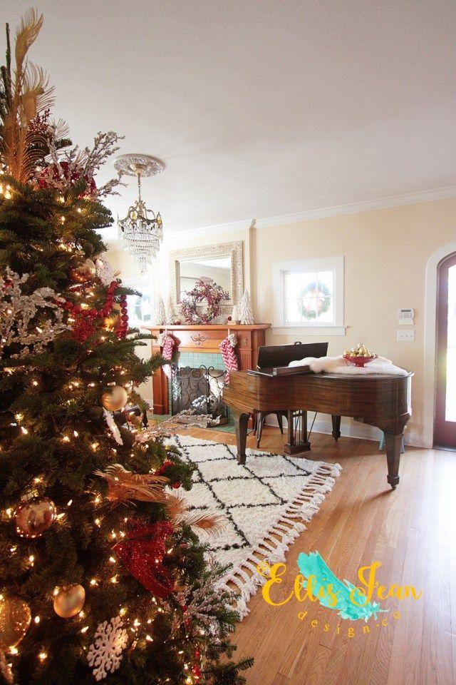 Christmas Living Room Christmas Tree Baby Grand Piano