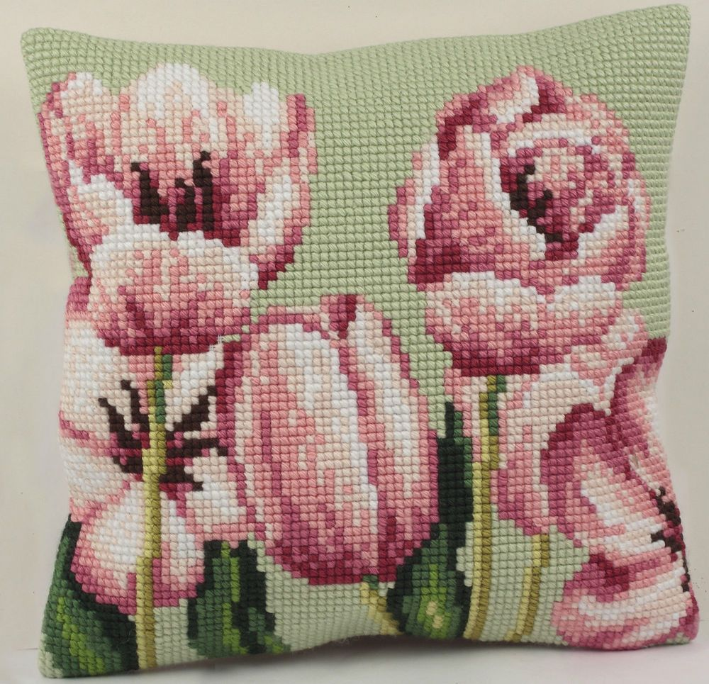 CD5069 Left Collection D/'Art Tulip Cross Stitch Cushion Front Kit