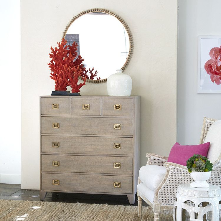 Extra Tall Gray Wash Campaign Chest Round Mirrors Types Of