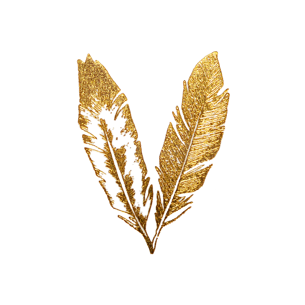 New Limited Edition Gold Feathers Temporary Tattoos