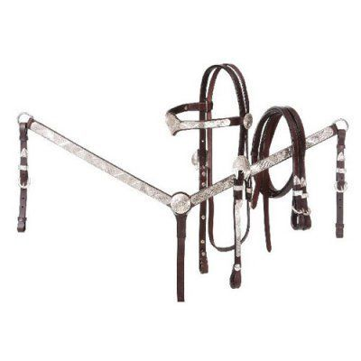 Tough-1 V Brow Headstall/Split Reins/Breastcollar Set with Silver Accents Dark Oil - 90-862-32-0, Durable