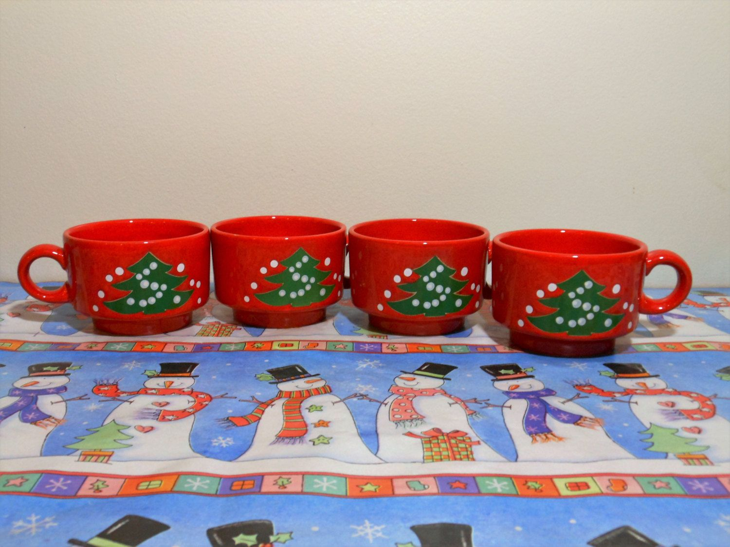 4 Small Waechtersbach Christmas Cups Waechtersbach Christmas Mugs Red Christmas Tree Mugs Christmas & 4 Small Waechtersbach Christmas Tree Cups Waechtersbach Christmas ...