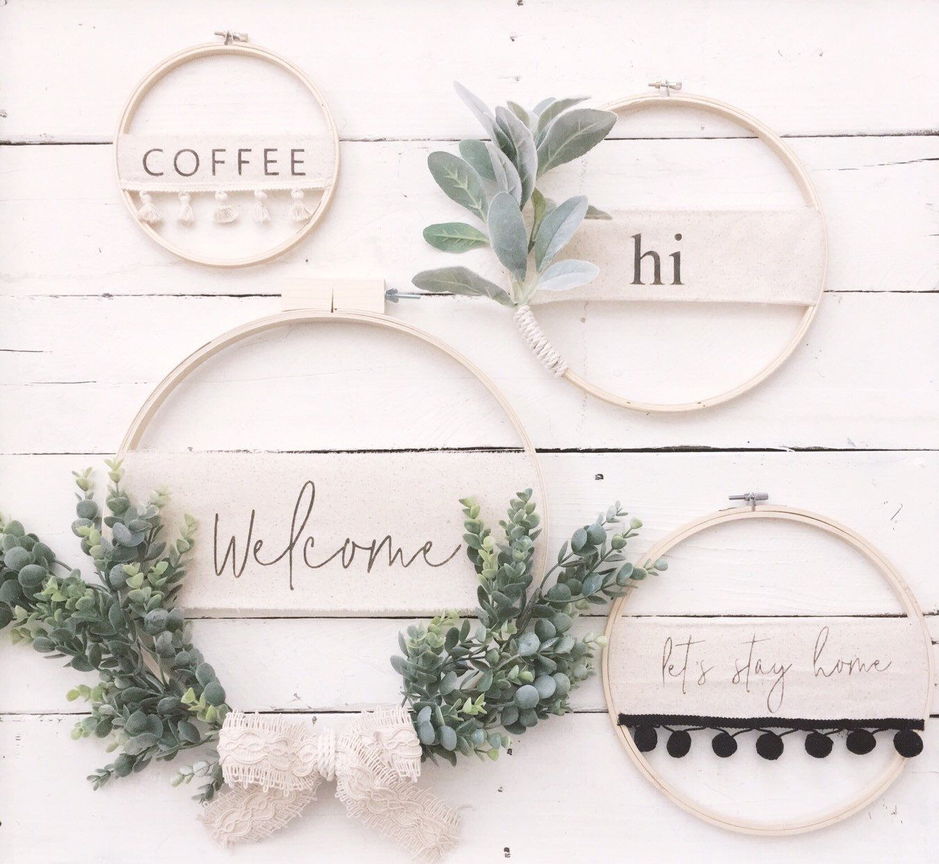 Photo of Items similar to Modern Boho Embellished Embroidery Hoop Wreath // Spring Wreath // Custom Wreath // wall decor // wall art // Front Door Wreath // Wedding Decor on Etsy