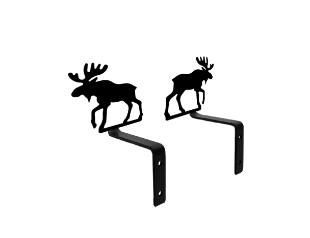 Our Moose Pine Tree Silhouette Wrought Iron Curtain Swags Will Add A Classic Touch To Your Window Treatment Moose Decor Pine Tree Silhouette Moose Silhouette