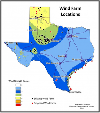 Texas Wind Map Windfarms in Texas as of 2010 #map #texas #tx #wind #windpower