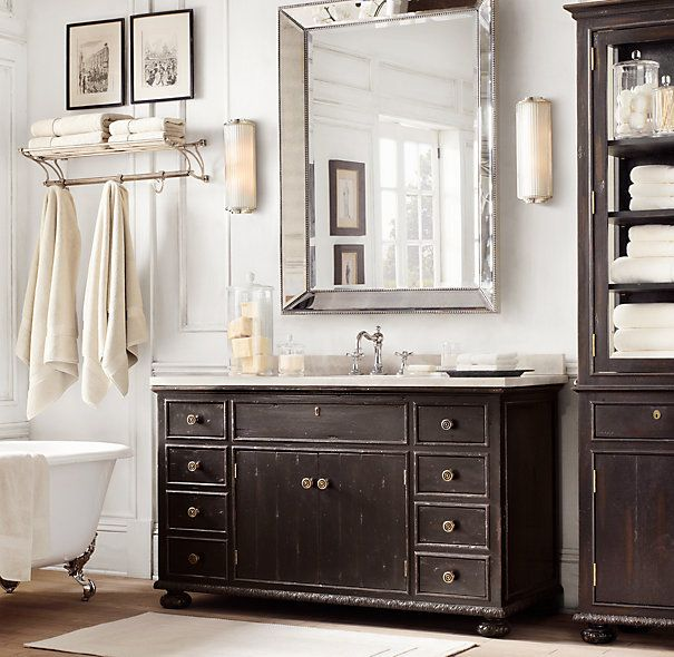 French Empire Single Extra Wide Vanity Vintage Bathroom Mirrors