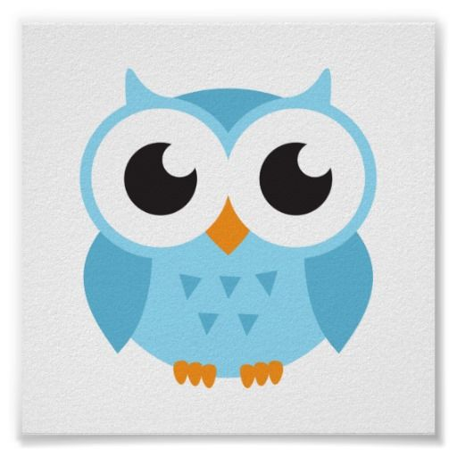 Cute Blue Cartoon Baby Owl Poster Zazzle Com Au Owl Drawing Simple Owl Cartoon Owl Posters