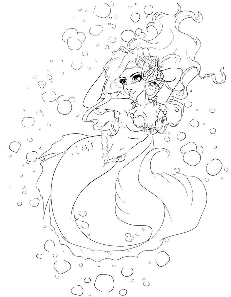 mermaids to print and color the little siren by manic goose on
