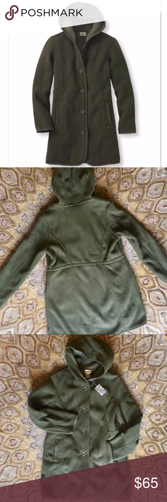 NWT LL Bean Kingfield Fleece Hooded Coat, PS Brand new, with tags ...