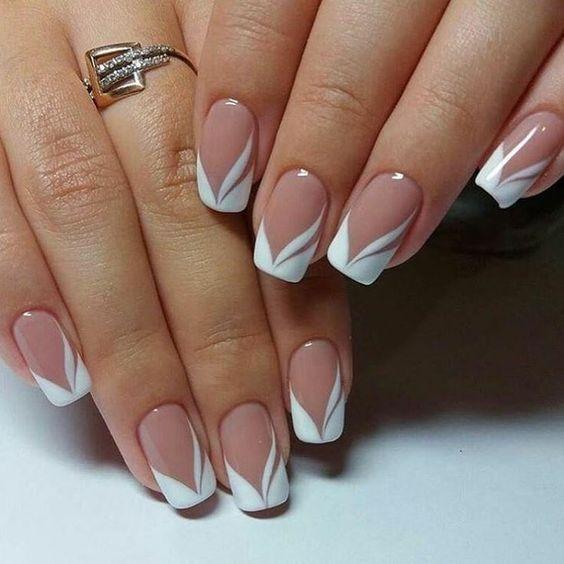 French Nails Nude Quadratisch Spitze Weiss Dreieckig Lang Elegant