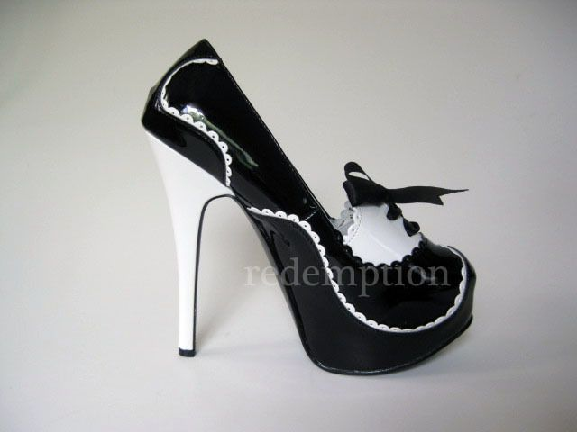 "Bordello 5.75"" Heel Two Tone Black/White Rockabilly Platform Heels Shoes 9 #Bordello #PlatformsWedges"