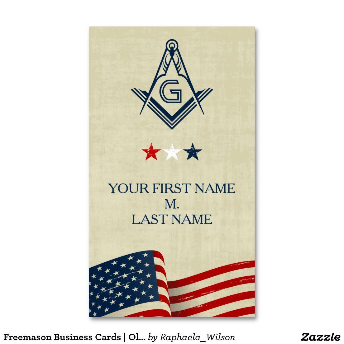 Freemason Business Cards | Old Glory American Flag | Custom Masonic ...