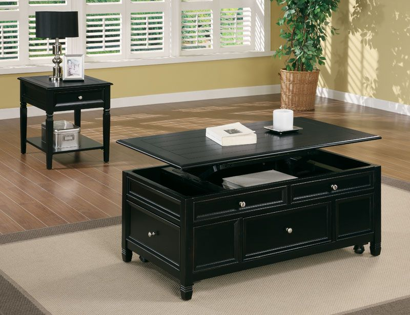Best Bogatte I Lift Top Coffee Table With Drawers Black 400 x 300
