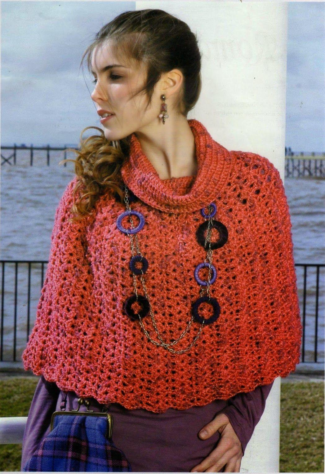 Mini Poncho con cuello desbocado - Patrones Crochet | crochet ...
