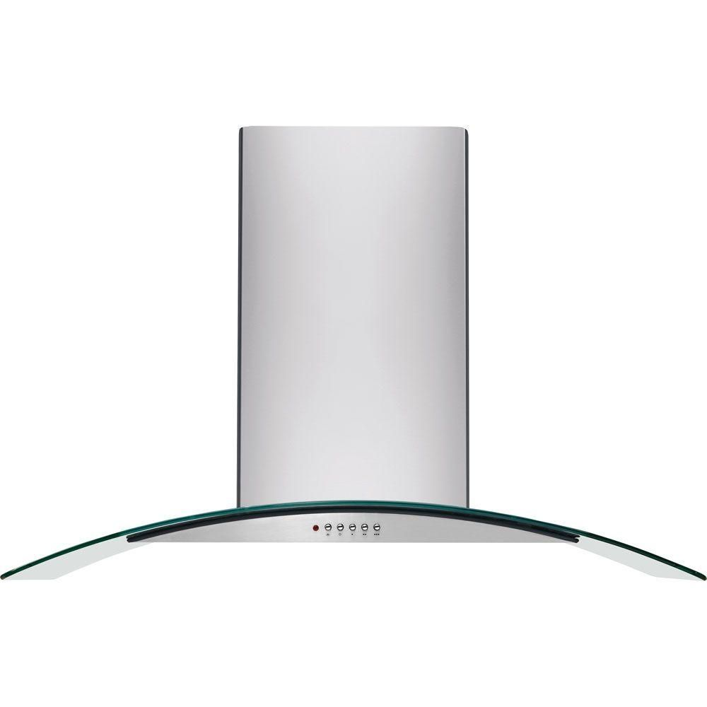 Frigidaire 36 In Convertible Wall Mount Chimney Range Hood In Stainless Steel With Glass Canopy Fhwc3660ls The Home Depot Island Range Hood Stainless Range Hood Range Hood