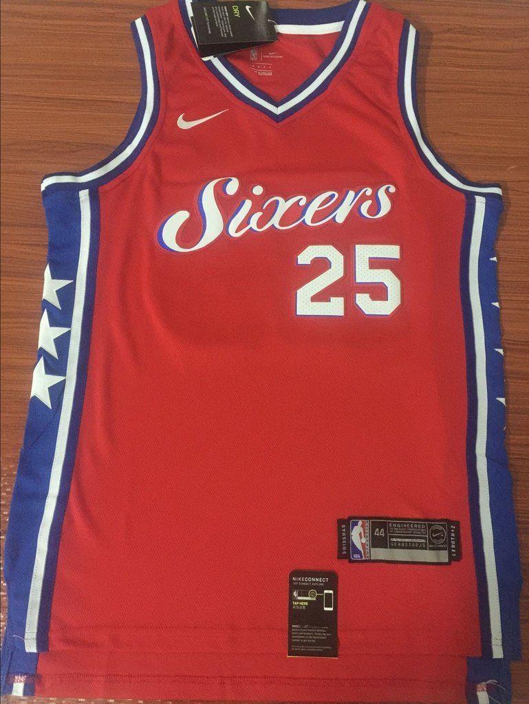 b06ac2e72 Men 25 Ben Simmons 76ers Jersey Red City Edition Philadelphia 76ers Jersey