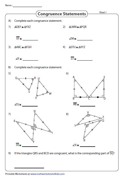 Congruent Parts Congruent Triangles Worksheet Triangle Worksheet Math Tricks