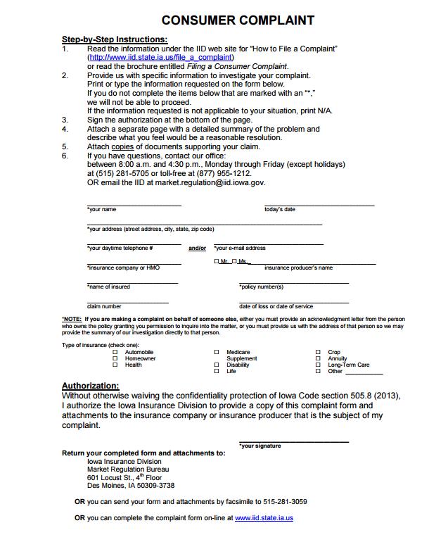 Iowa Insurance Commissioner Complaint Complaints Iowa Brochure