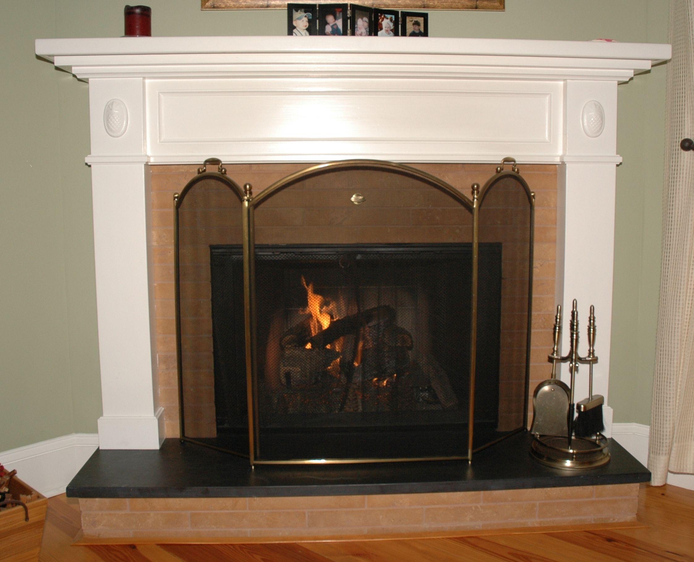 Brick fireplace with white mantel fireplaces pinterest white