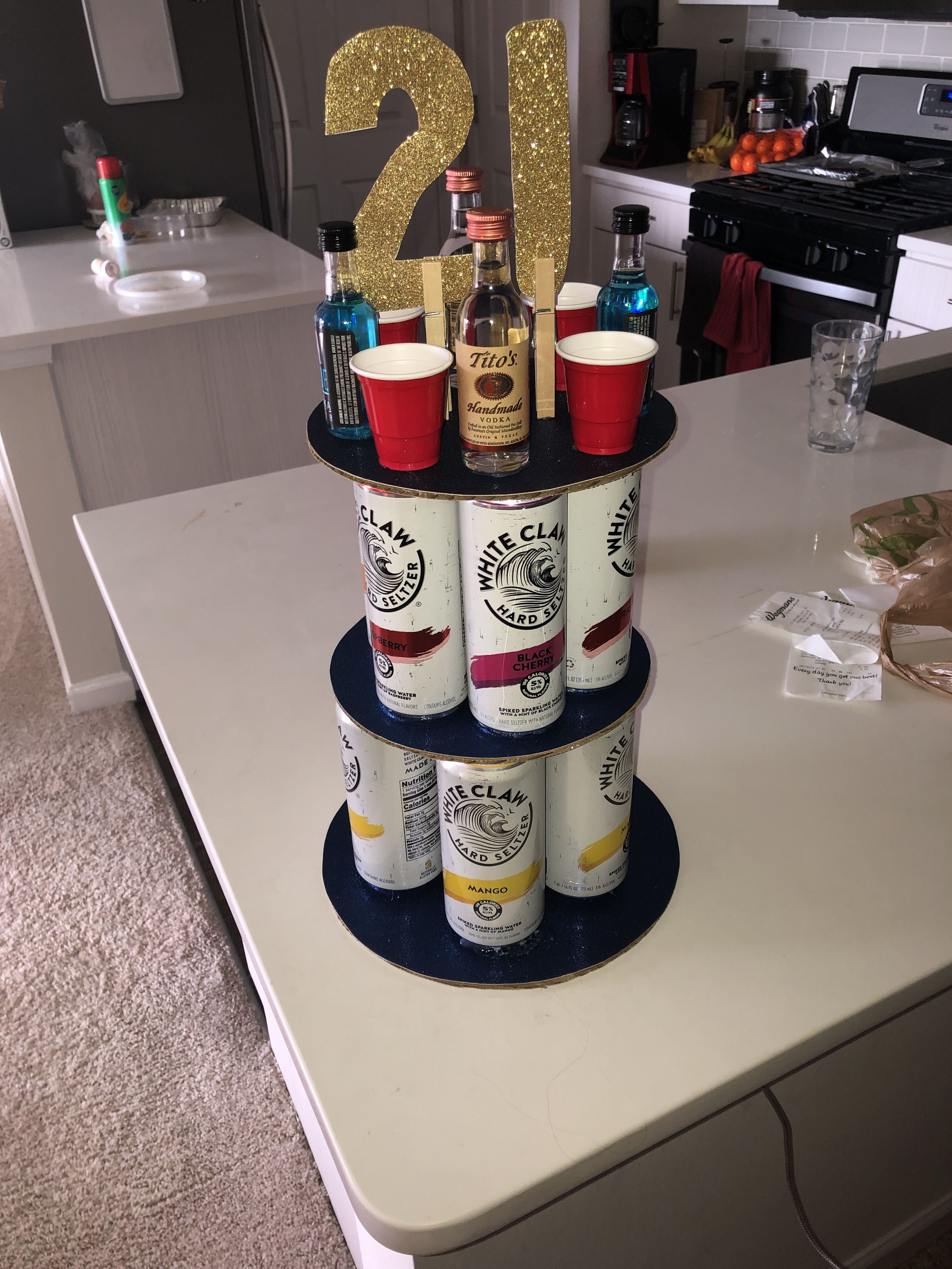 Alcohol tower for 21st birthday 21st birthday cake