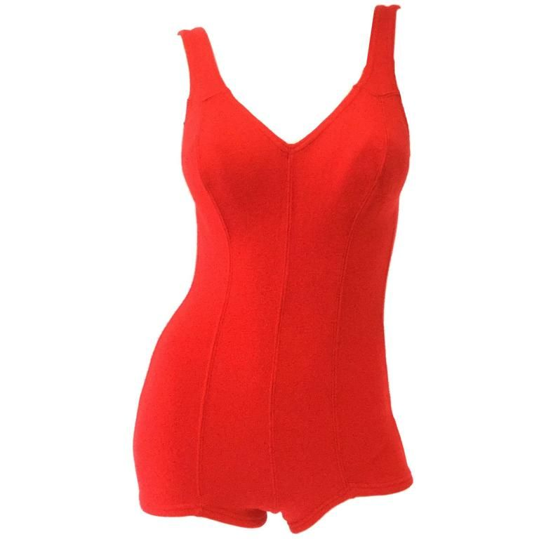 501453877e 1960s DeWeese Candy Red Wool Knit One Piece Swimsuit