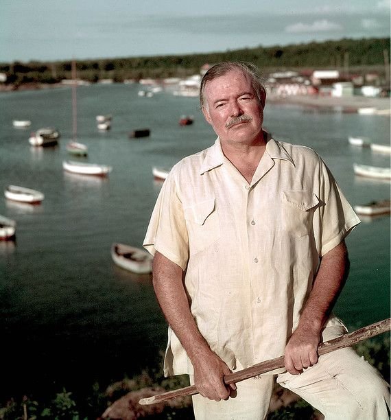 Ernest Hemingway in front of the harbor at Cojimar, the setting for The Old Man and the Sea.