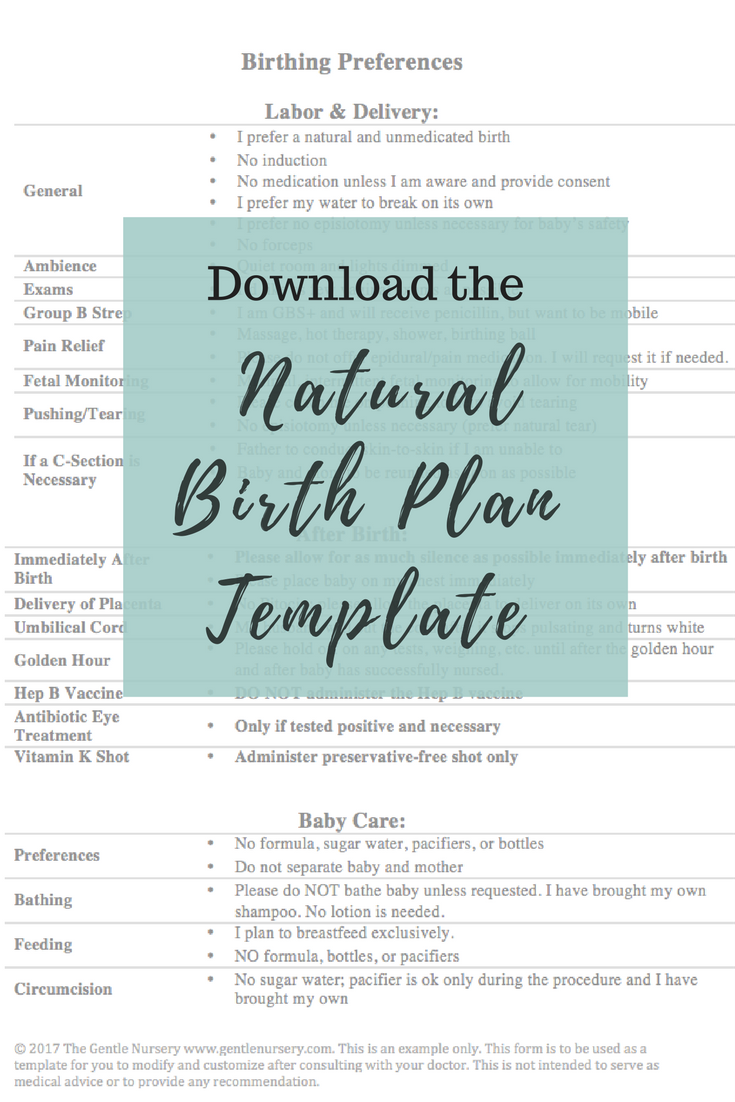 Natural Birth Plan Template Create A Birthing Plan  Birth