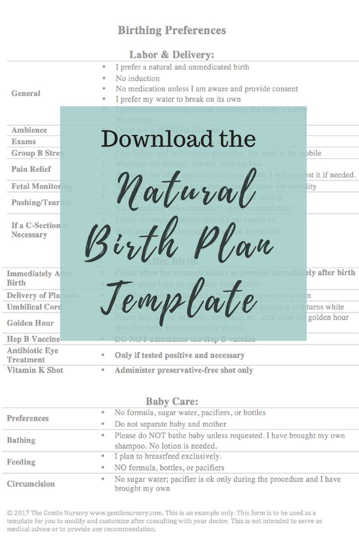 Natural Birth Plan Template Create A Birthing Plan  Birth