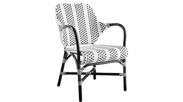 Loomis Black White Woven Rattan Chair