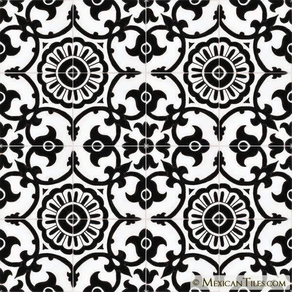 Mexican Tile Avidan Black White 1 Gloss Malibu Ceramic