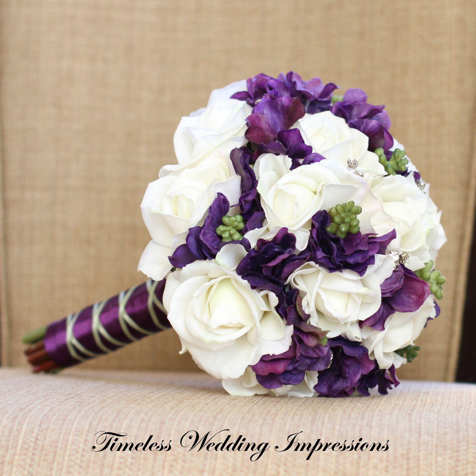 magnolia and purple bridal bouquet - Google Search | Wedding Likes ...