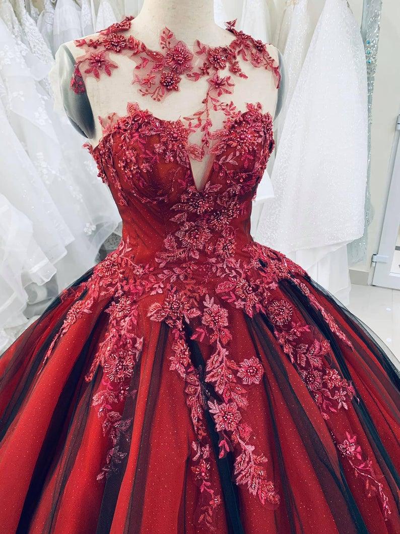 Unique Red Vintage Wedding Dress, Made to Measure Wedding Dress ...