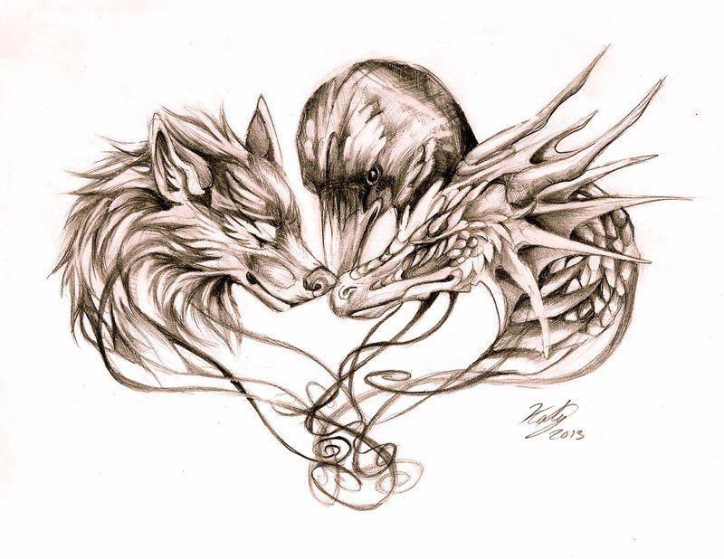 cf05ec8c0599e Wolf Raven Dragon Tattoo   tattoo   Raven tattoo, Wolf tattoos ...