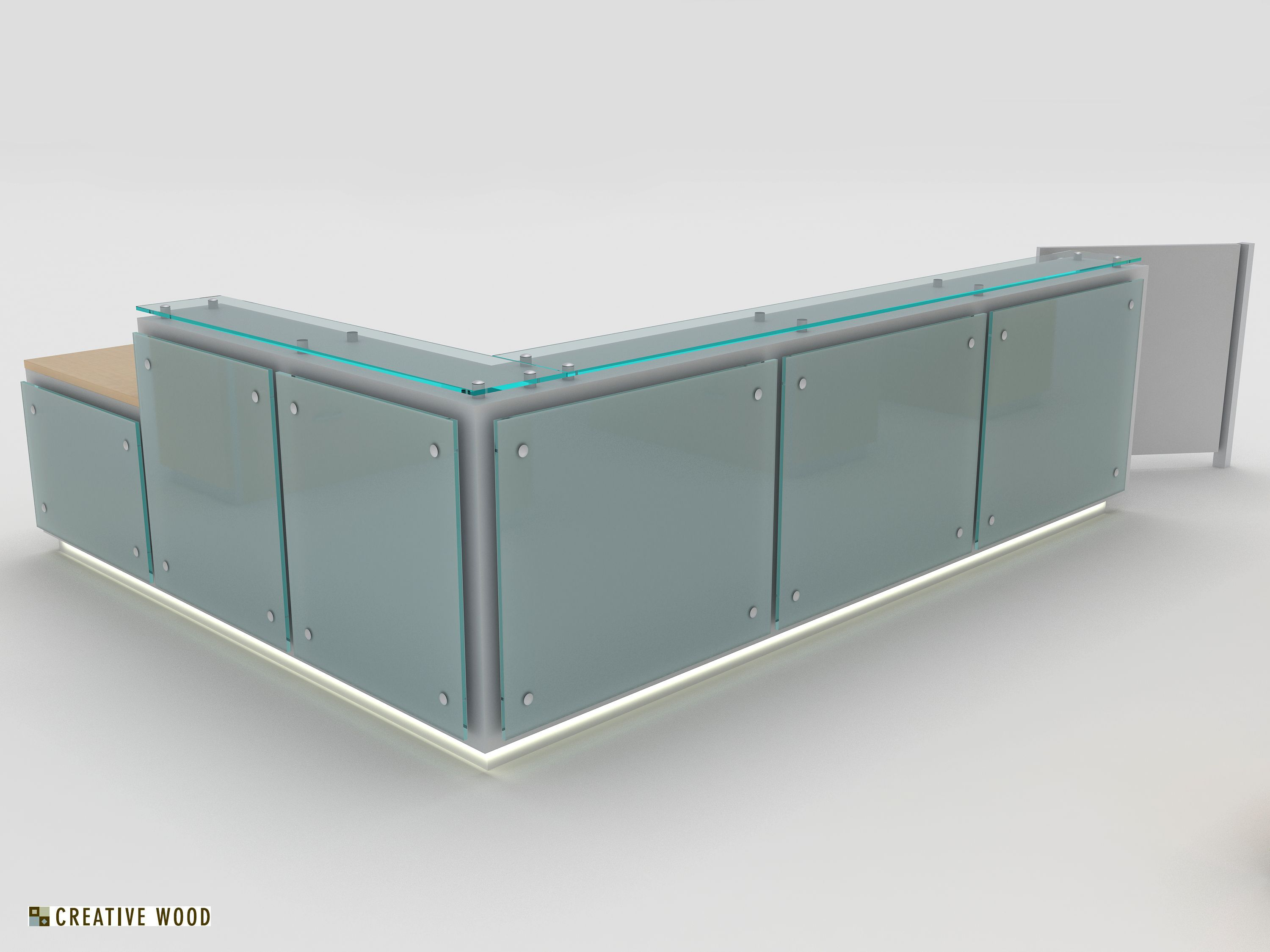 Home gt reception desks gt 8 curved maple glass top reception desk - Luma Steel Reception Desk With Floating Glass Panels And Recessed Led Toe Kick Light Reception Desksglass Panelsoffice Furniturereceptionsto