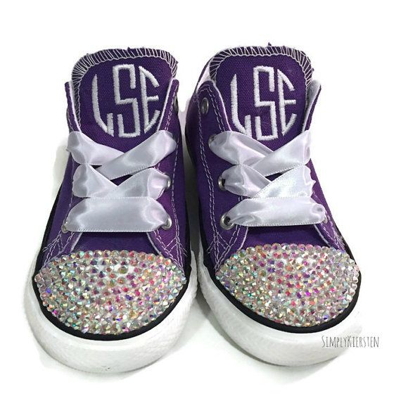 872daf676be0 Monogrammed Converse kids shoes by OSewSassyByKrystal on Etsy