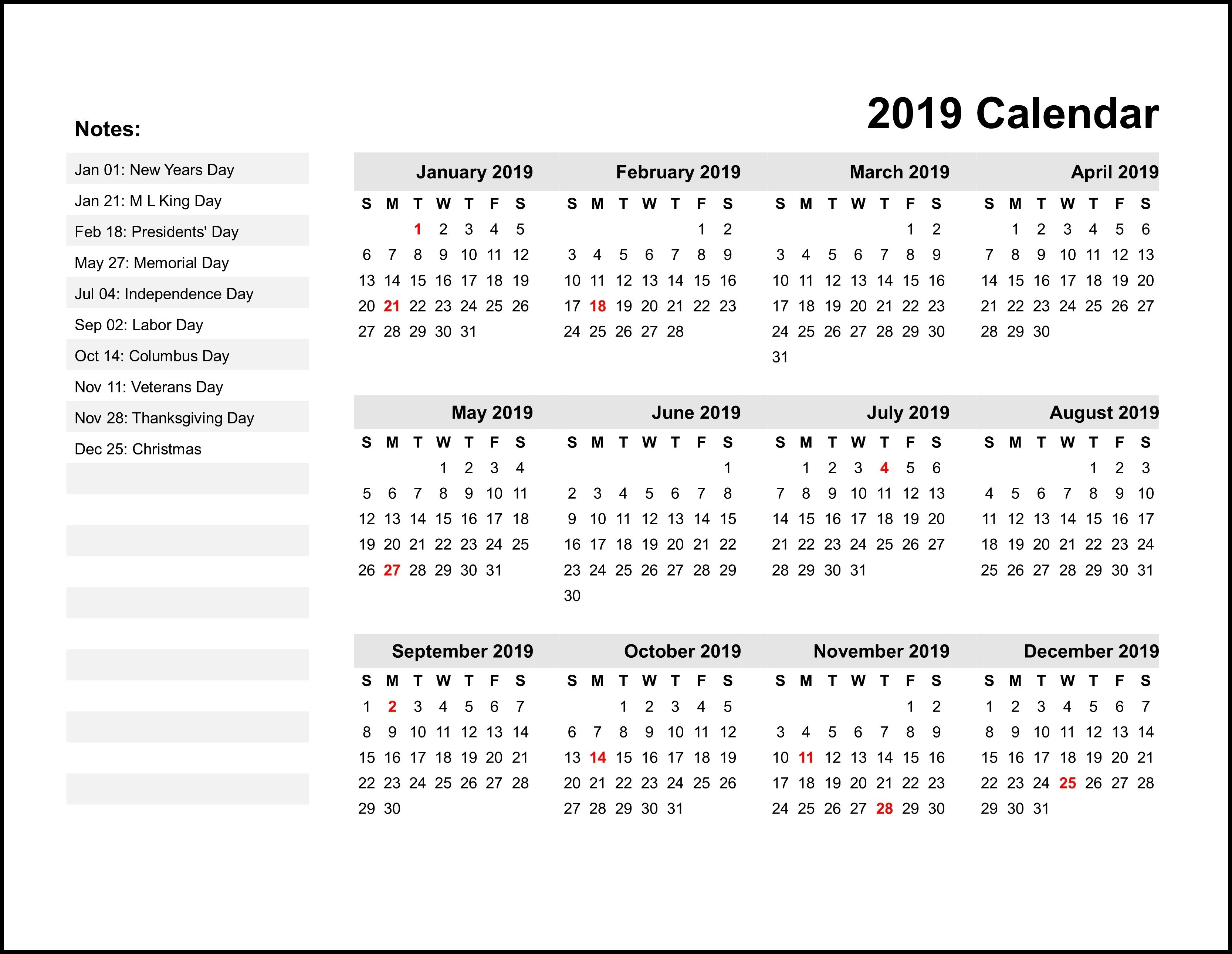 2019 Printable Monthly Calendar Calendar Printables Printable Yearly Calendar Calendar Template