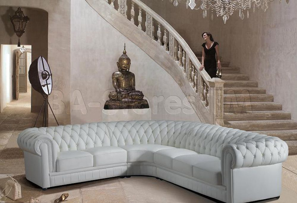 Merveilleux Paris White Tufted Leather Sectional