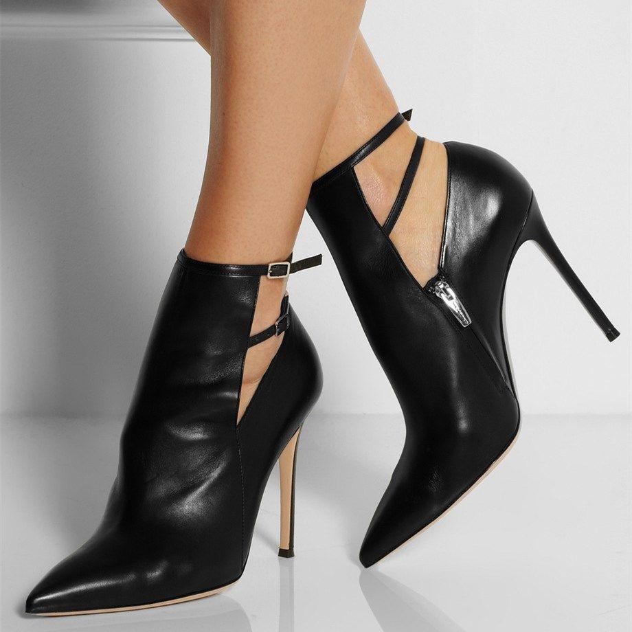 Black Stiletto Boots Pointy Toe 4