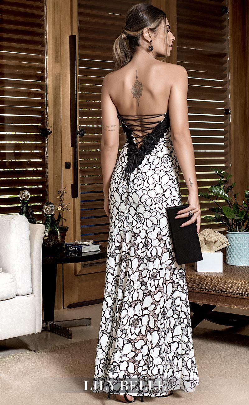 41f029b544 Vestido Lily Belle. Decote trançado costas. Vestido longo. Vestido em renda.  Vestido