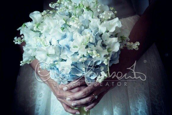Beautiful Bridal Bouquet Comprised Of: Light Blue Hydrangea, White Sweet Pea & White Lily Of The Valley