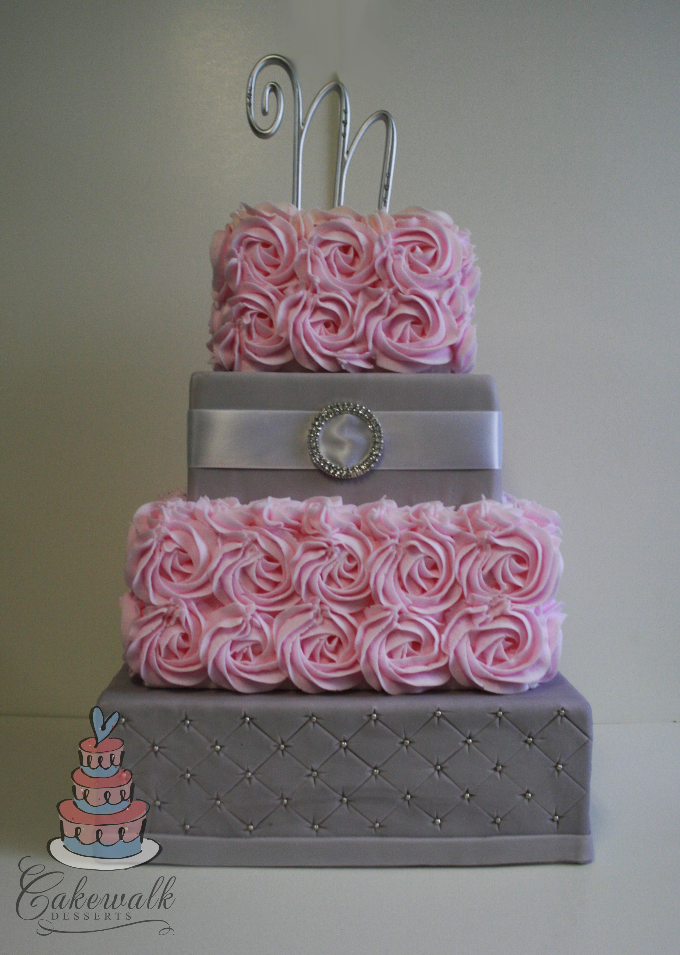 4 tier square wedding cake Pink buttercream roses grey