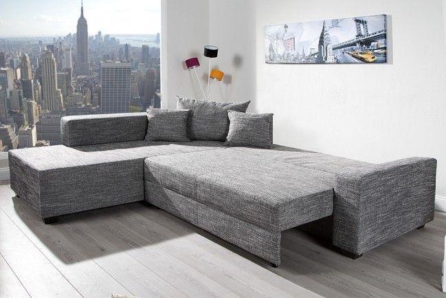 Design ecksofa  Design Ecksofa APARTMENT Strukturstoff graphit Federkern Sofa ...