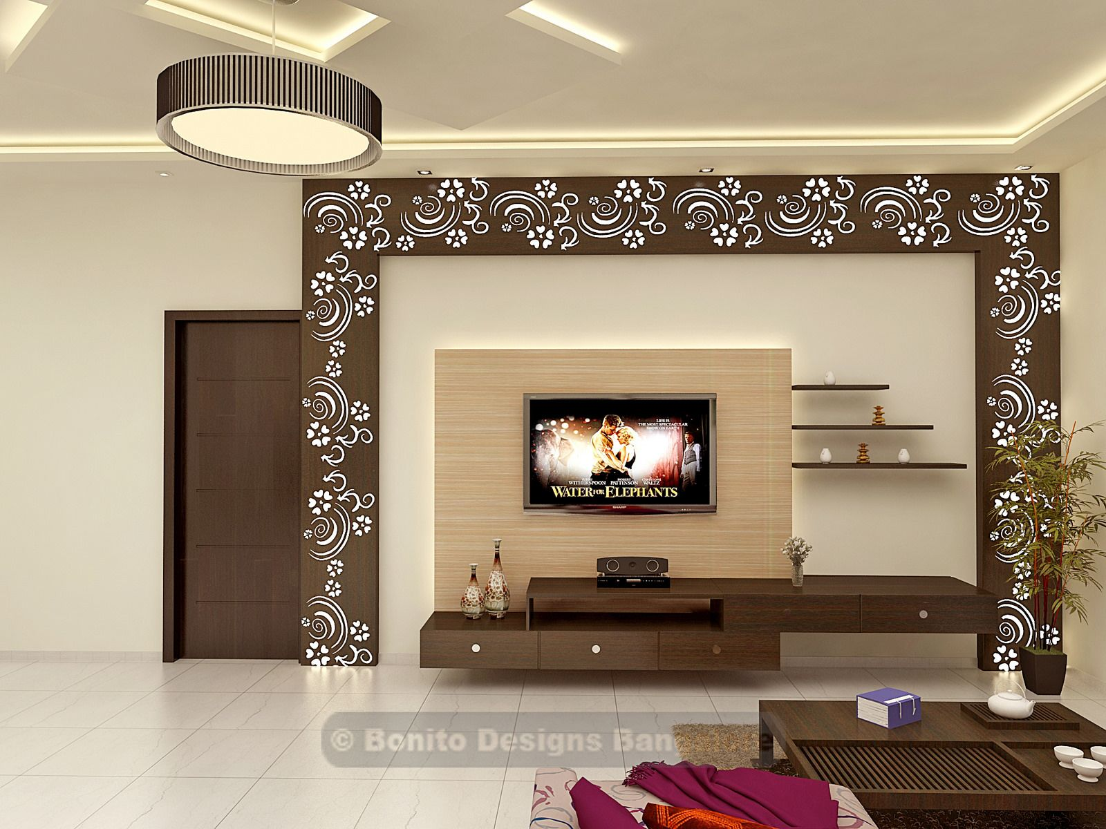 Sujithliv3 bonito tv unit and tvs for Lcd wall unit designs for hall