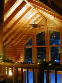 Vaulted Log Ceiling With Up Lighting
