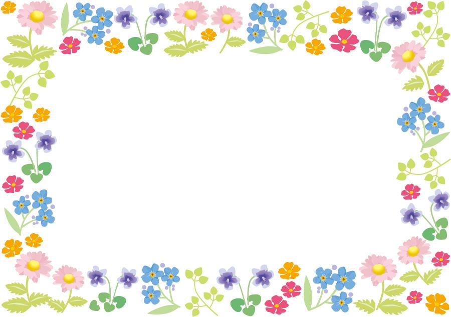 フリーイラスト スミレやマーガレットなどの花のフレーム Ramar
