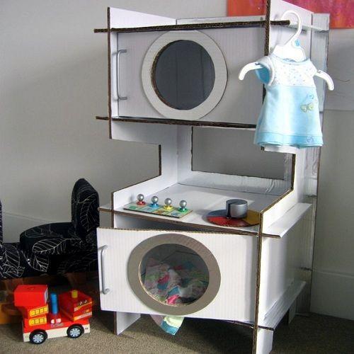 Lavadora y secadora de juguete de cart n reciclaje juguetes de cart n cart n y juguetes - Rack lavadora secadora ...