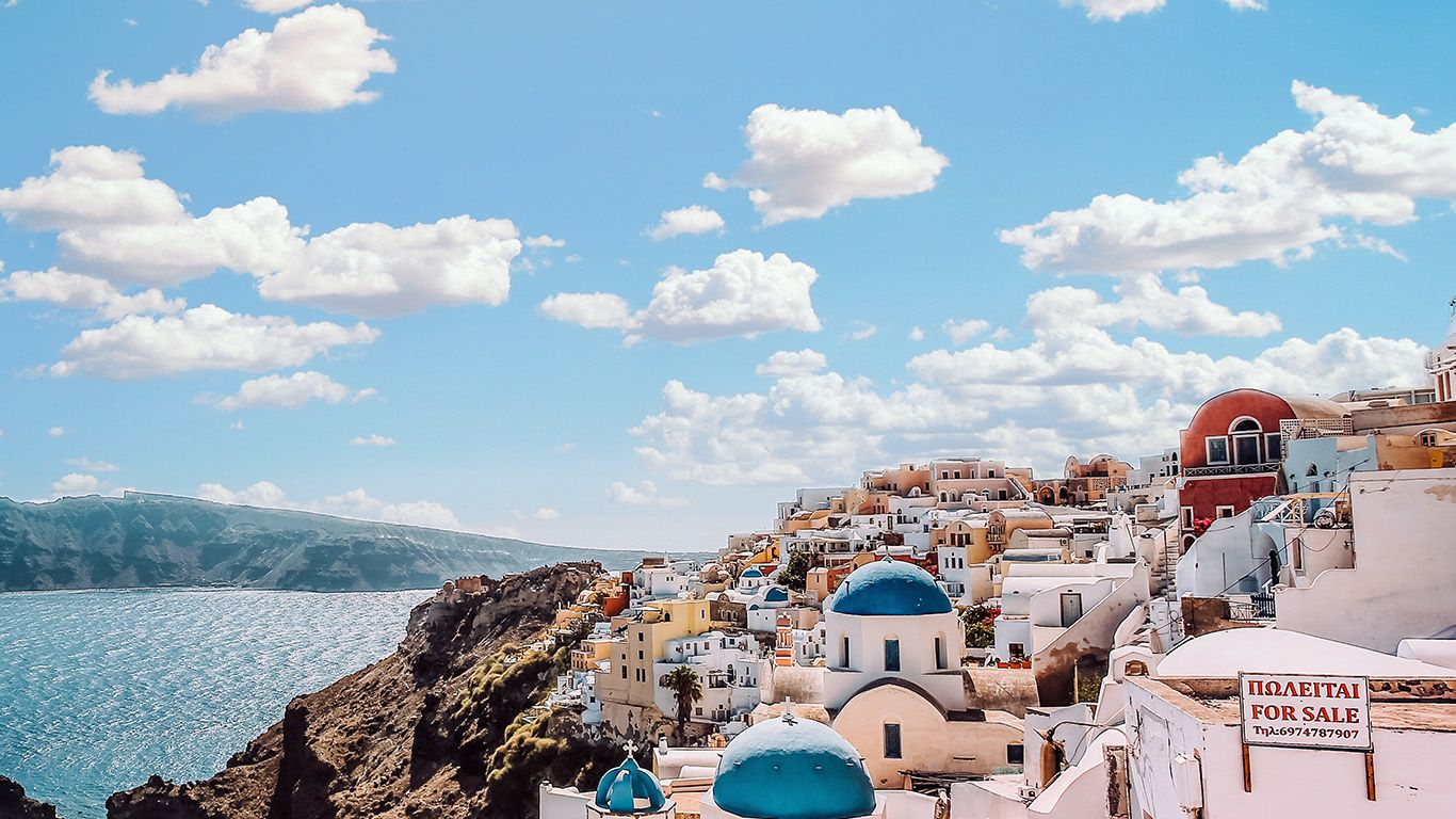 Ob79 Sky Sunny Summer Greece City Nature Desktop Wallpaper